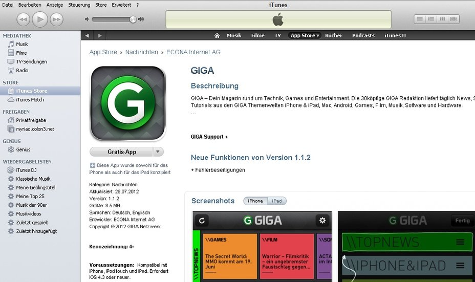 iTunes ohne Kreditkarte Screenshot