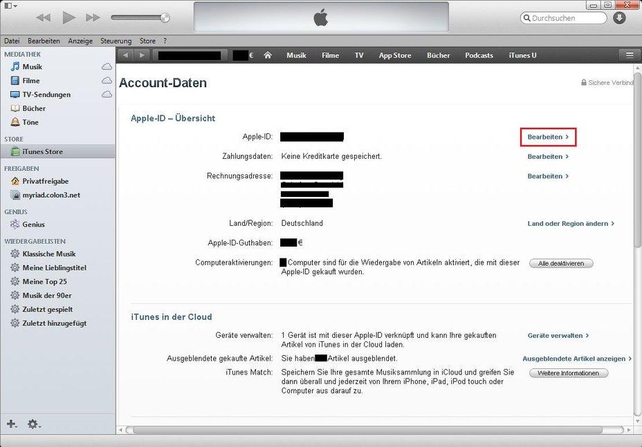 iTunes Email ändern