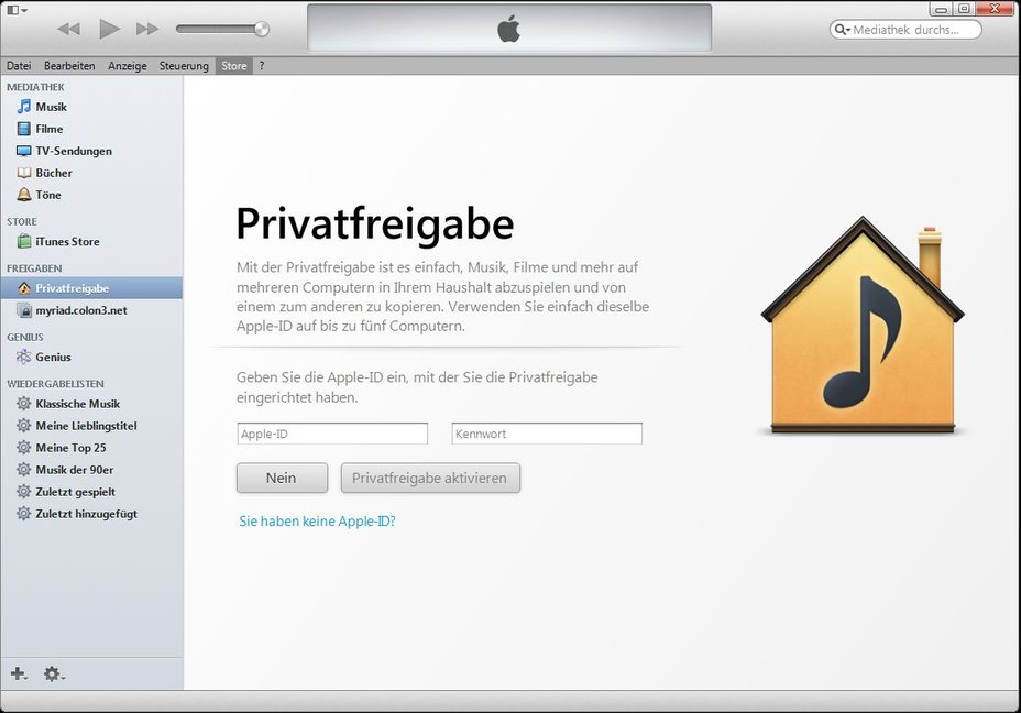 iTunes Privatfreigabe