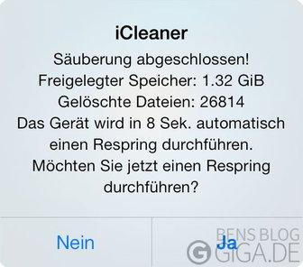 iCleaner - Säuberung abgeschlossen