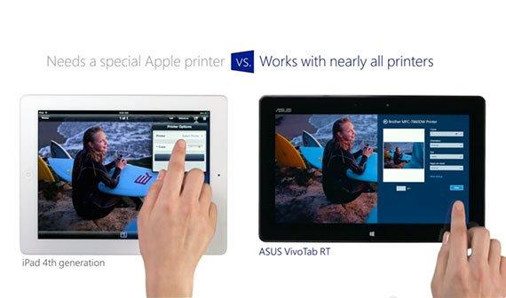 iPad vs. Windows 8 Tablet, die Zweite: Das iPad ist kleiner und benötigt Apple-Drucker