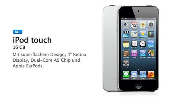 """Neuer iPod touch von Apple: 4""""-Display, 16 GB, ohne Rückkamera"""