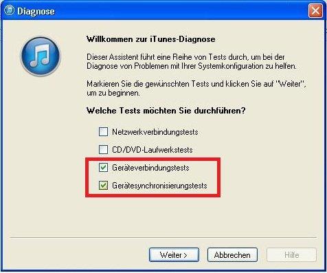 iTunes iPhone wird nicht angezeigt Screenshot