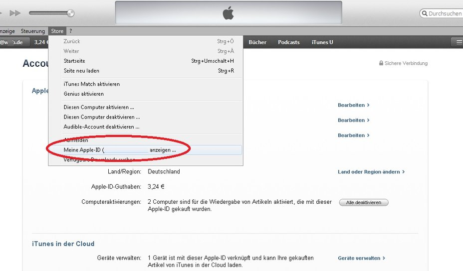 iTunes Fehler 8003 Screenshot