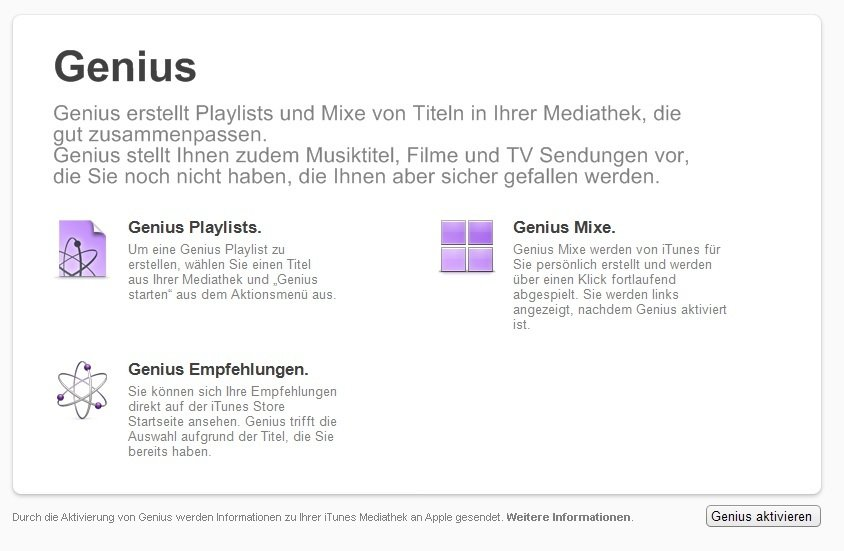 iTunes Geschichte Genius Screenshot