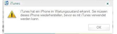 iTunes hat ein iPhone im Wartungszustand erkannt