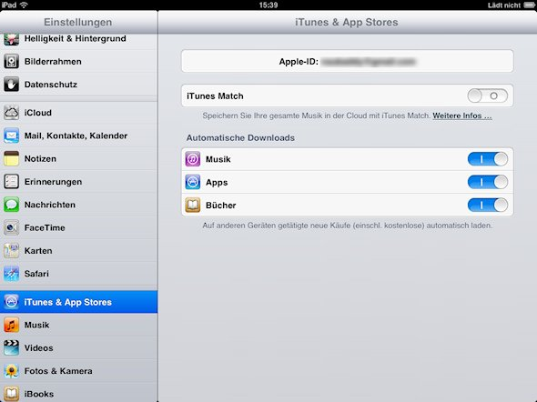 iTunes automatische Downloads iPad Screenshot