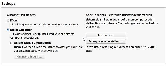 iTunes iPad Backup Screenshot