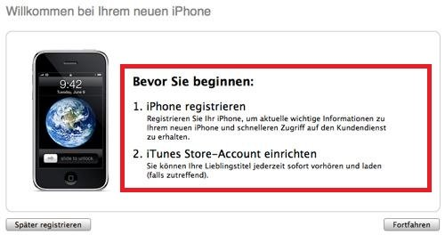 iTunes iPhone aktivieren Screenshot