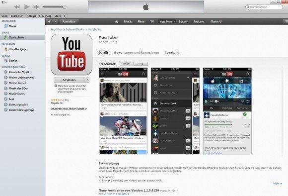 iTunes iPhone Apps YouTube
