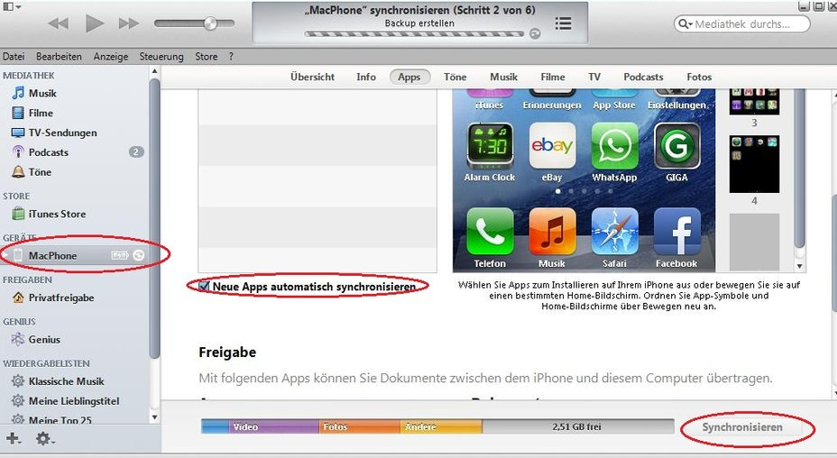 iTunes iPhone Apps synchronisieren Screenshot