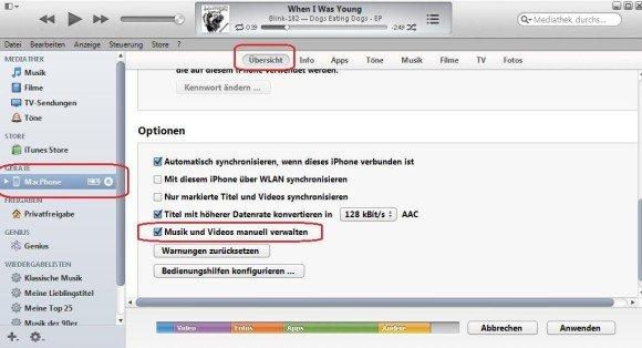 iTunes iPhone Musik Screenshot