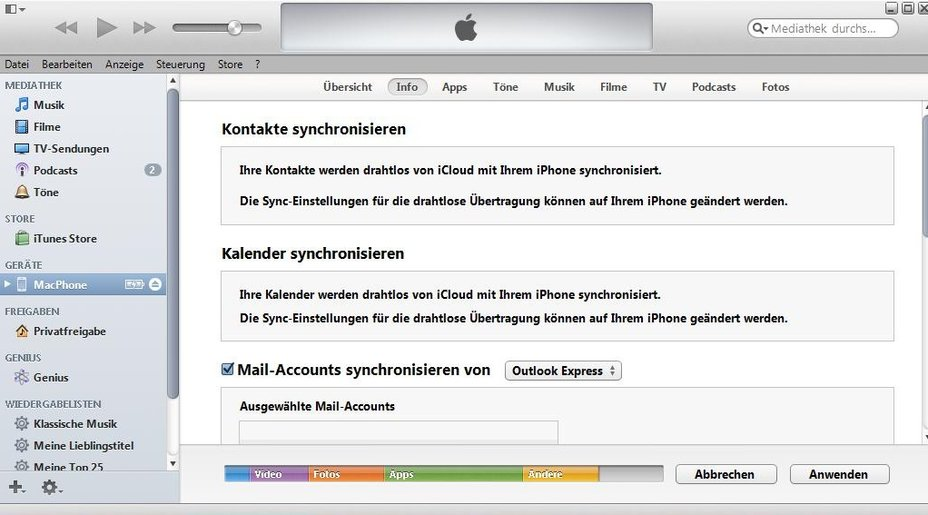 iTunes iPhone Outlook Screenshot