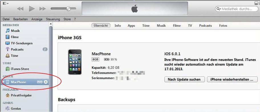 iTunes iPhone verbinden Screenshot