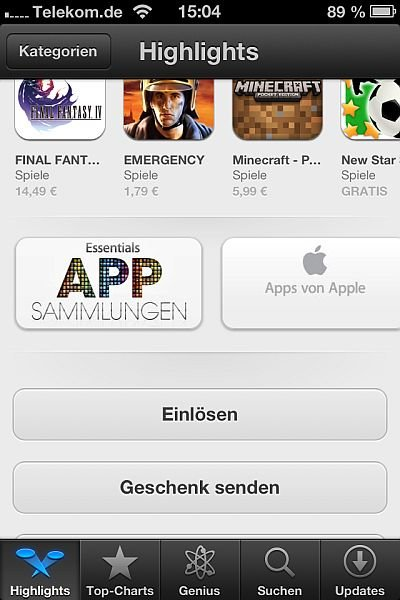 iTunes Karte am iPhone einlösen Screenshot