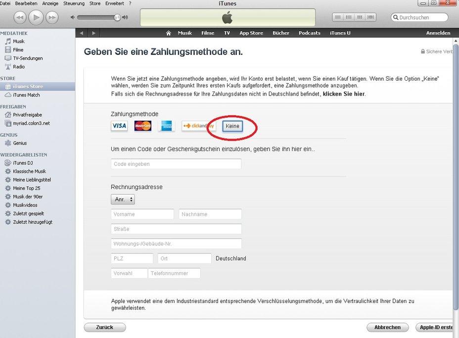 Itunes Zahlungsmethode Ohne Kreditkarte