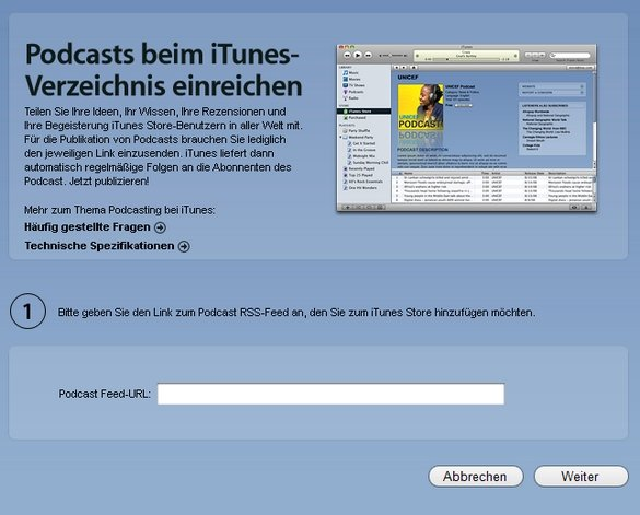 iTunes Podcast einreichen Screenshot