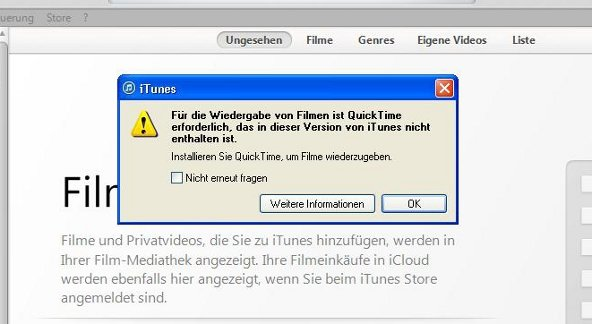 iTunes QuickTime Screenshot