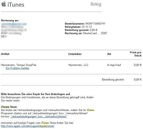 iTunes Rechnung Mail Screenshot