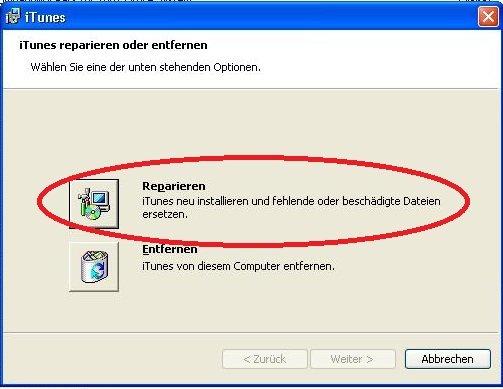 iTunes reparieren Systemsteuerung