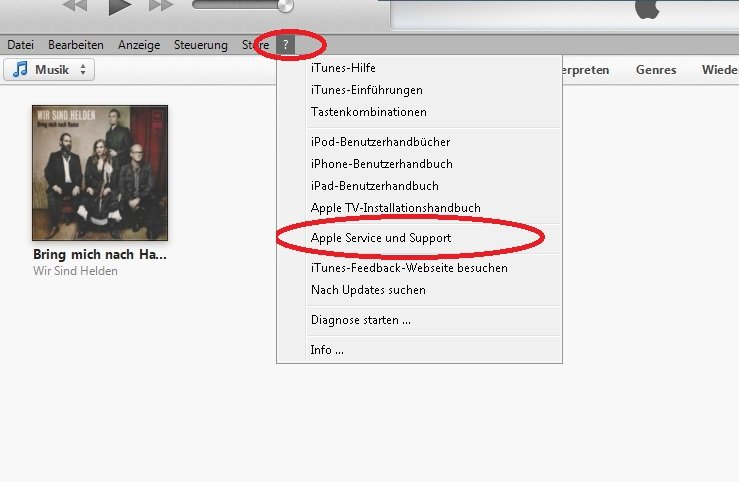iTunes Support Screenshot