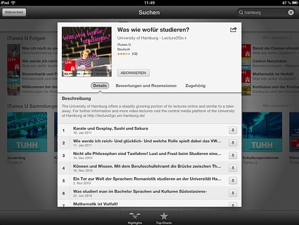 iTunes U iPad Angebot Uni Hamburg Screenshot