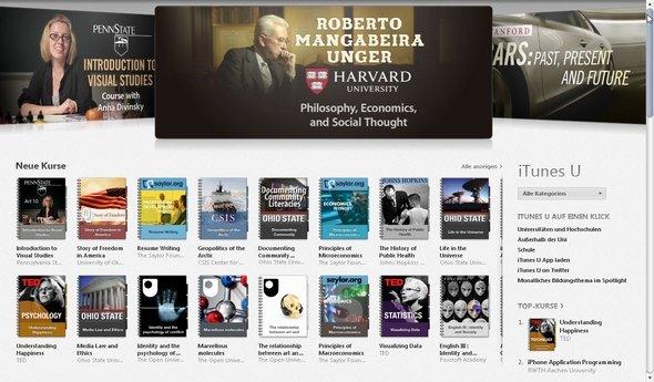iTunes U Verzeichnis Überblick Screenshot