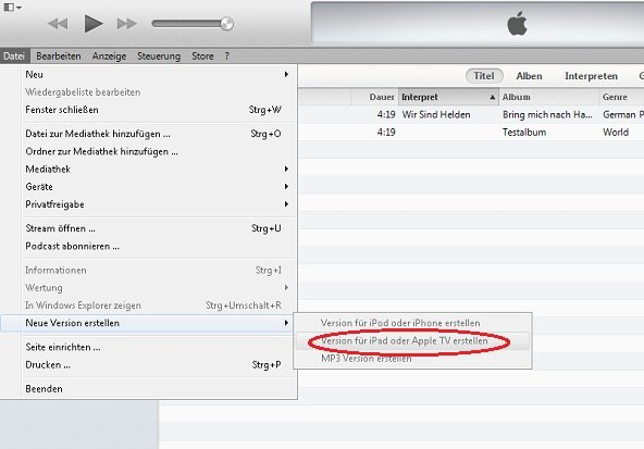 iTunes Video Converter Screenshot