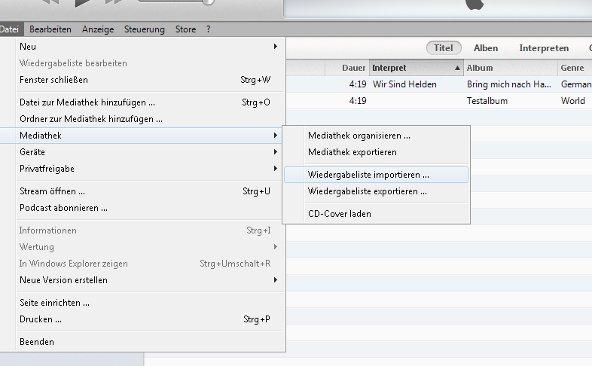 iTunes Wiedergabeliste importieren Screenshot