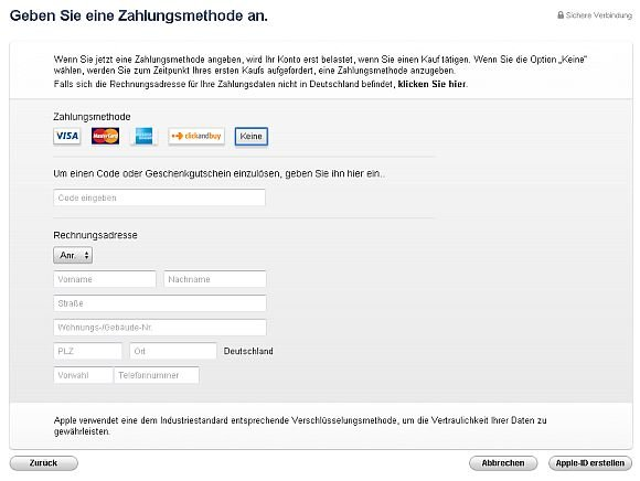iTunes Zahlungsmethoden Screenshot