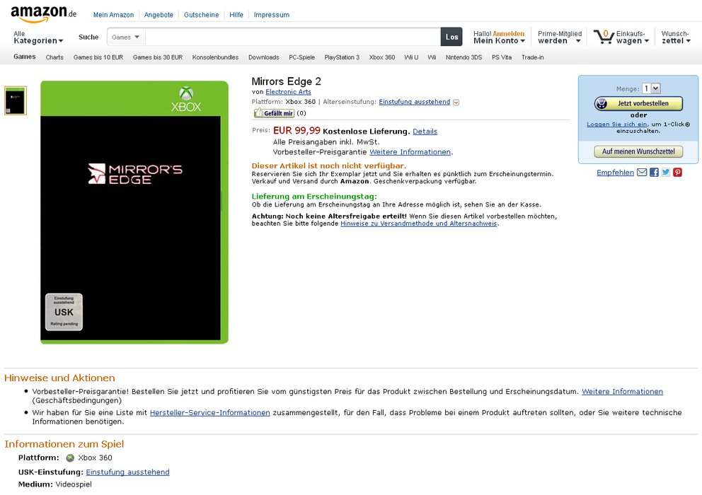 Das Mirror's Edge 2 Listing auf Amazon.de