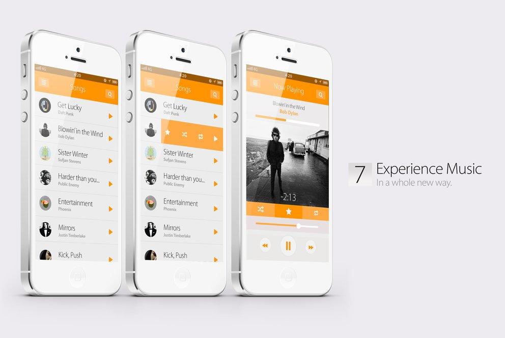 iOS 7 Konzept: Neue Musik-App