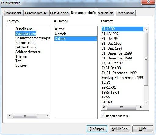 OpenOffice Writer Vorlagen Feldbefehl