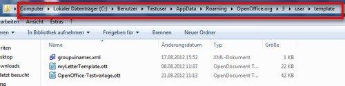 OpenOffice Writer Vorlagen Ordner