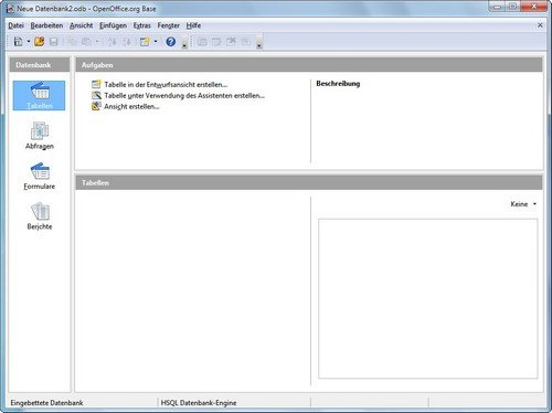 OpenOffice Base Startscreen