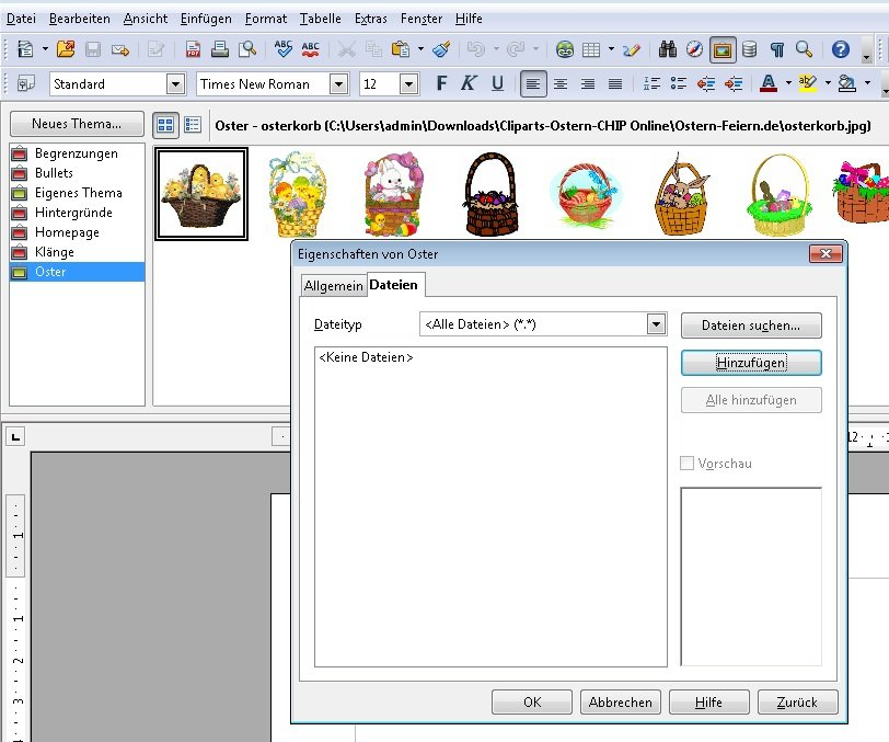 OpenOffice Cliparts Screenshot