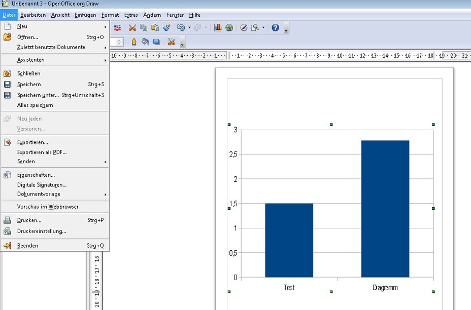 OpenOffice Diagramm exportieren Screenshot