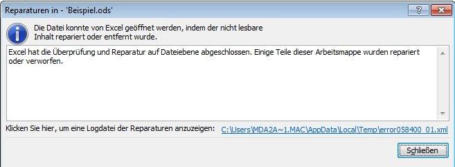 OpenOffice Excel Reparatur