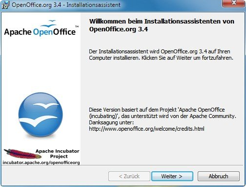 OpenOffice Installationsscreen