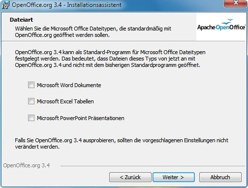 OpenOffice Installationsassistent