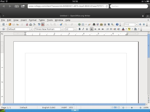 OpenOffice iPad Webapp Screenshot