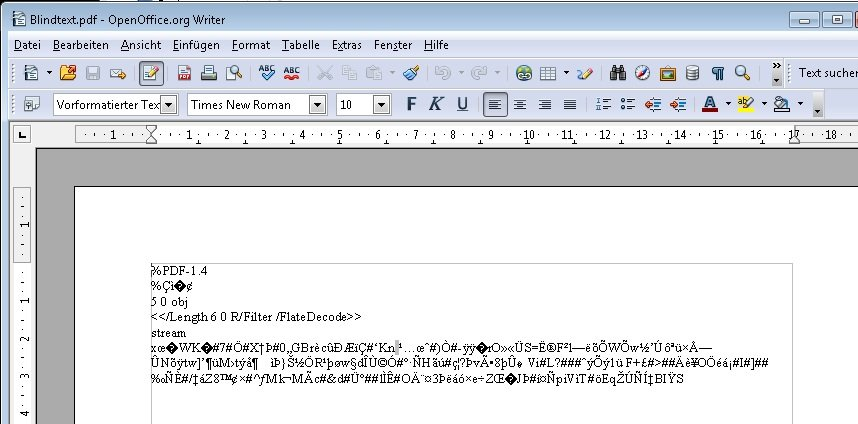 OpenOffice PDF Import Screenshot