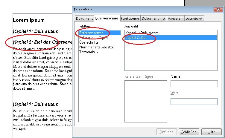 OpenOffice Querverweis Screenshot