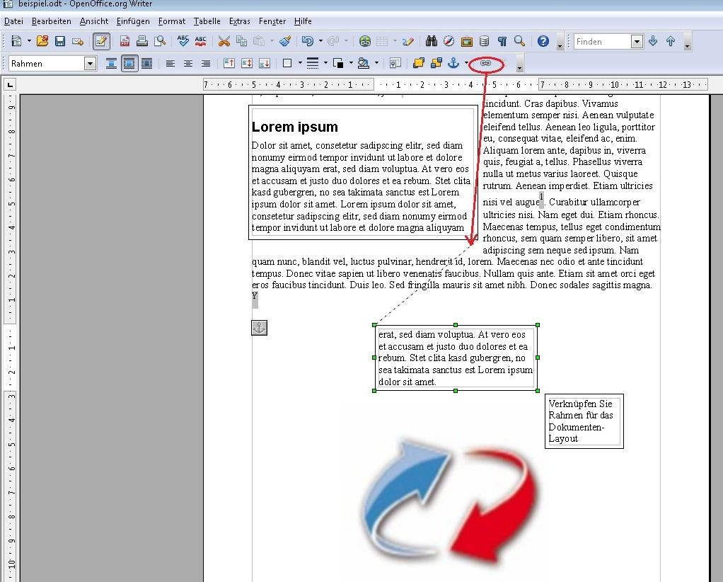 Arbeiten mit Rahmen in OpenOffice für das Layout – GIGA