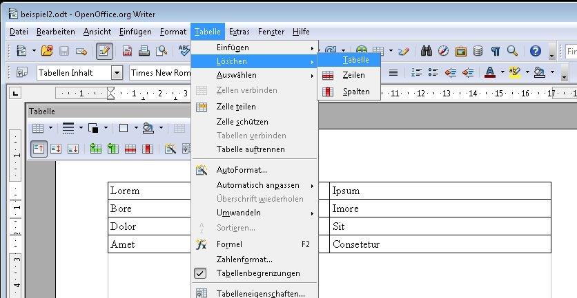 Openoffice tabellen einf gen und formatieren giga for Tabelle open office