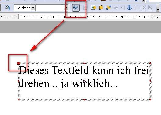 OpenOffice Textfeld frei drehen