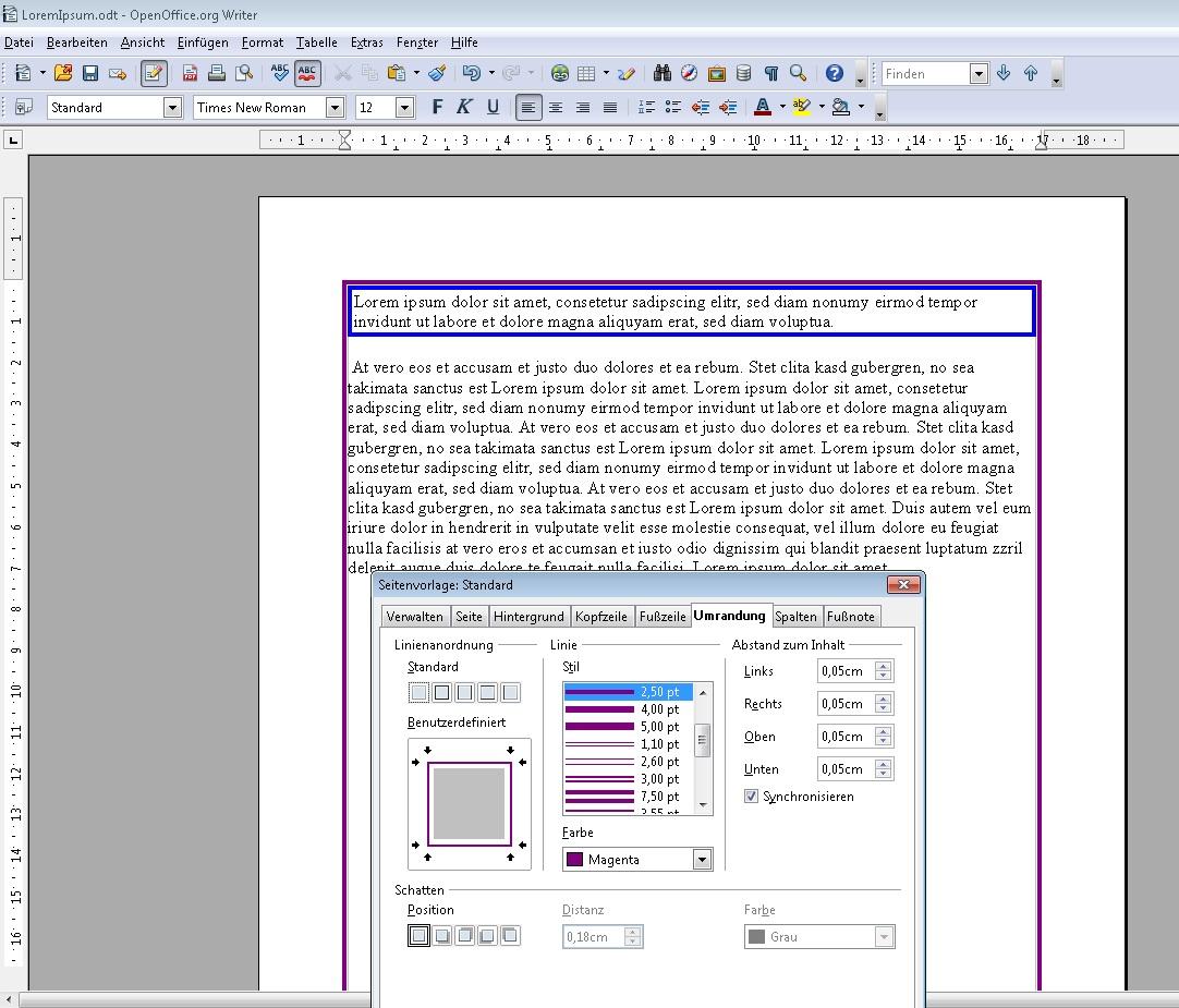 In OpenOffice Umrandungen für Textabschnitte und Seiten erstellen – GIGA