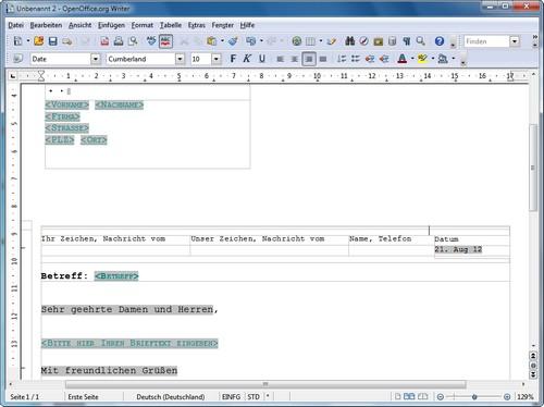 Wie Schreibe Ich Mit Openoffice Einen Brief Giga