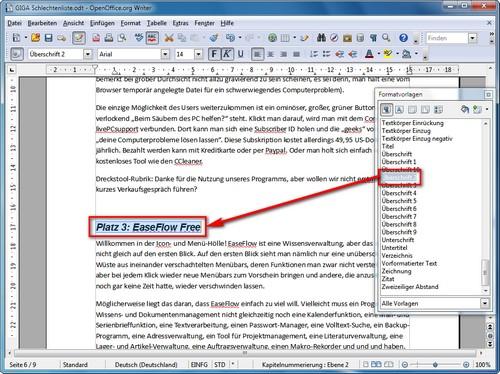 Wie kann ich in OpenOffice ein Inhaltsverzeichnis erstellen? – GIGA
