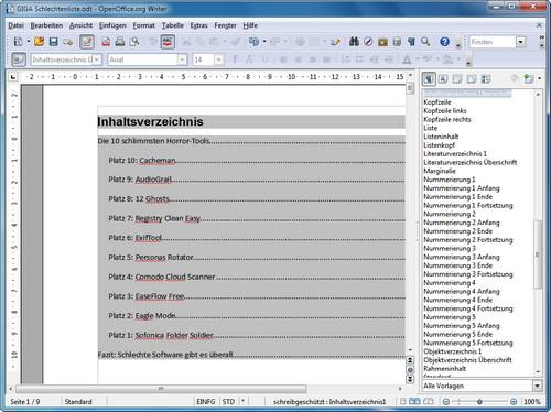 Wie Kann Ich In Openoffice Ein Inhaltsverzeichnis Erstellen